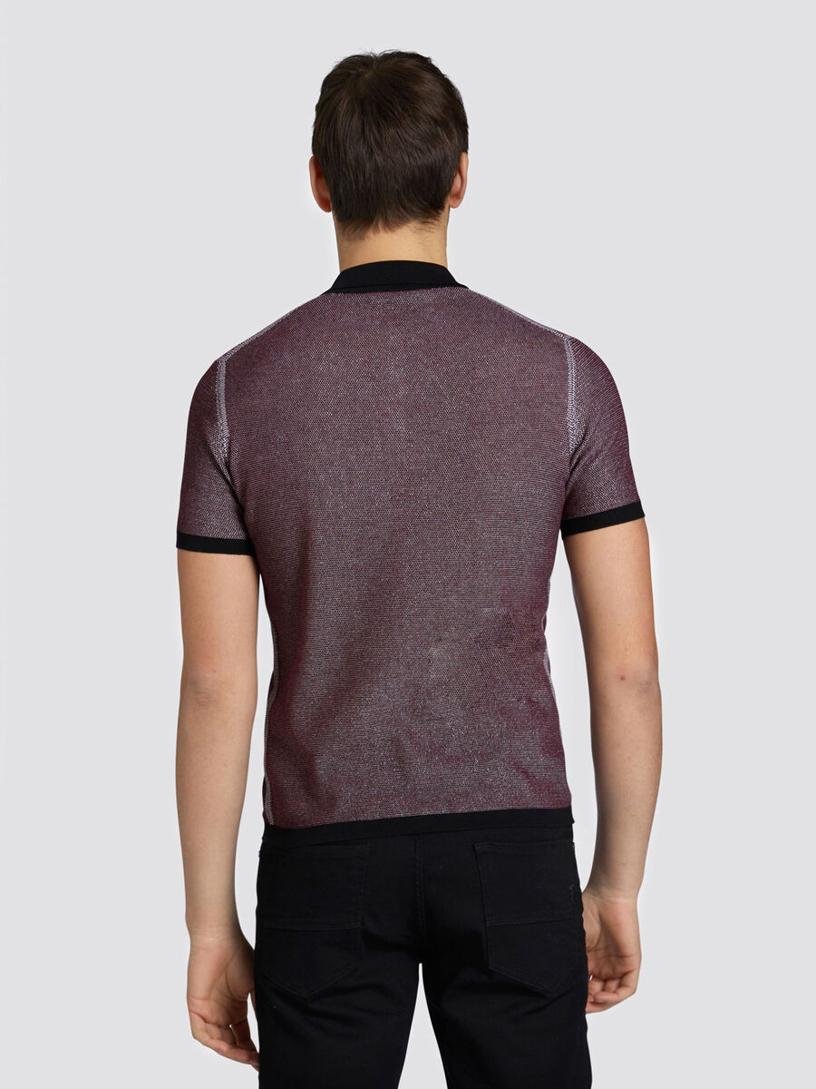 Slim fit two tone polo shirt in pure cotton