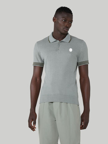 Regular-fit ribbed polo-shirt in cotton and silk