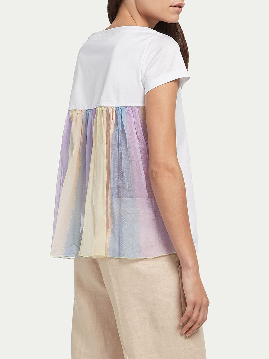 Jersey T shirt with tulle ruffle
