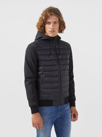 Regular fit down jacket in nylon and neoprene