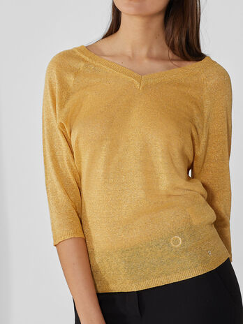 Pullover aus Lurexgarn und V-Ausschnitt