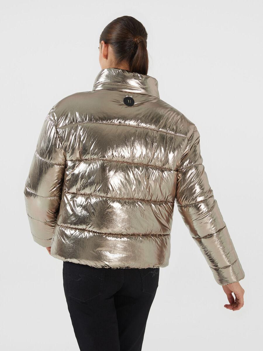 Regular fit metallic nylon down jacket