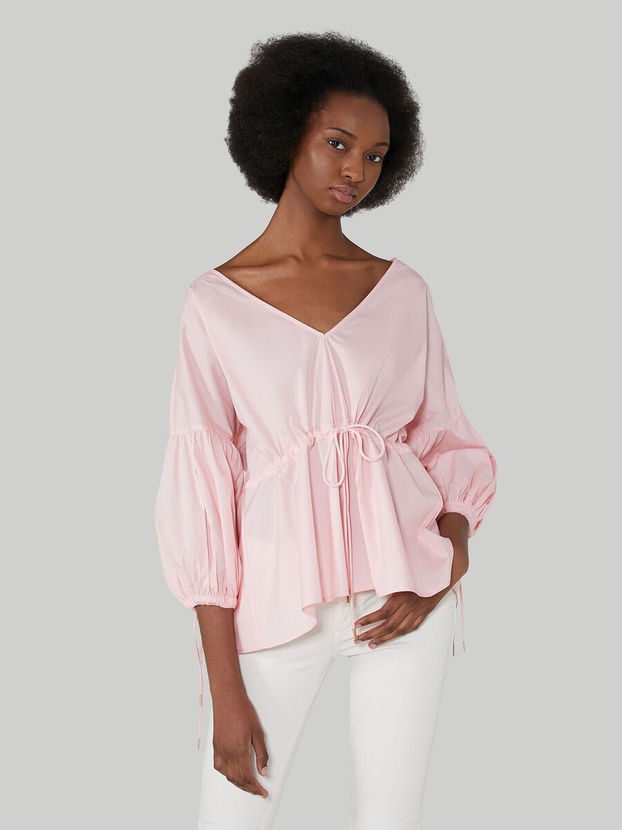Cotton poplin V-neck blouse