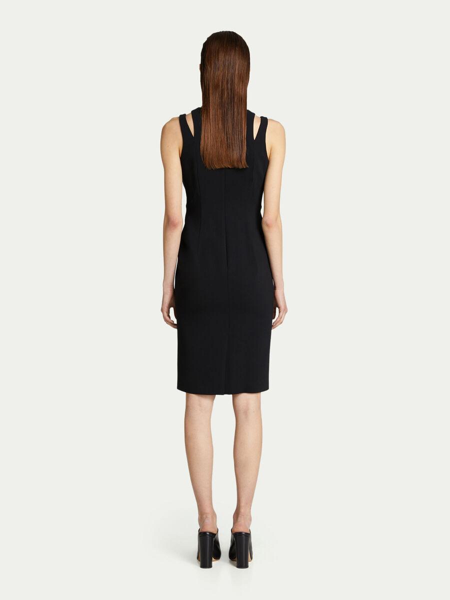Aermelloses Kleid aus einfarbigem Viskose Cady
