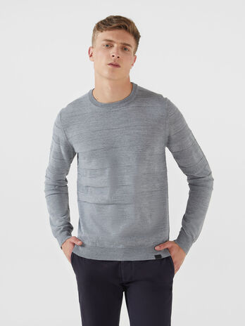 Pullover regular fit in misto lana tinta unita