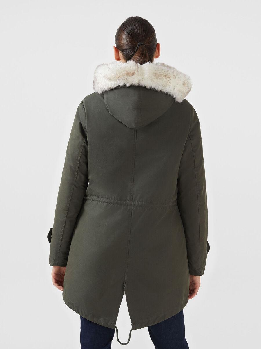 Gabardine parka with faux fur gilet
