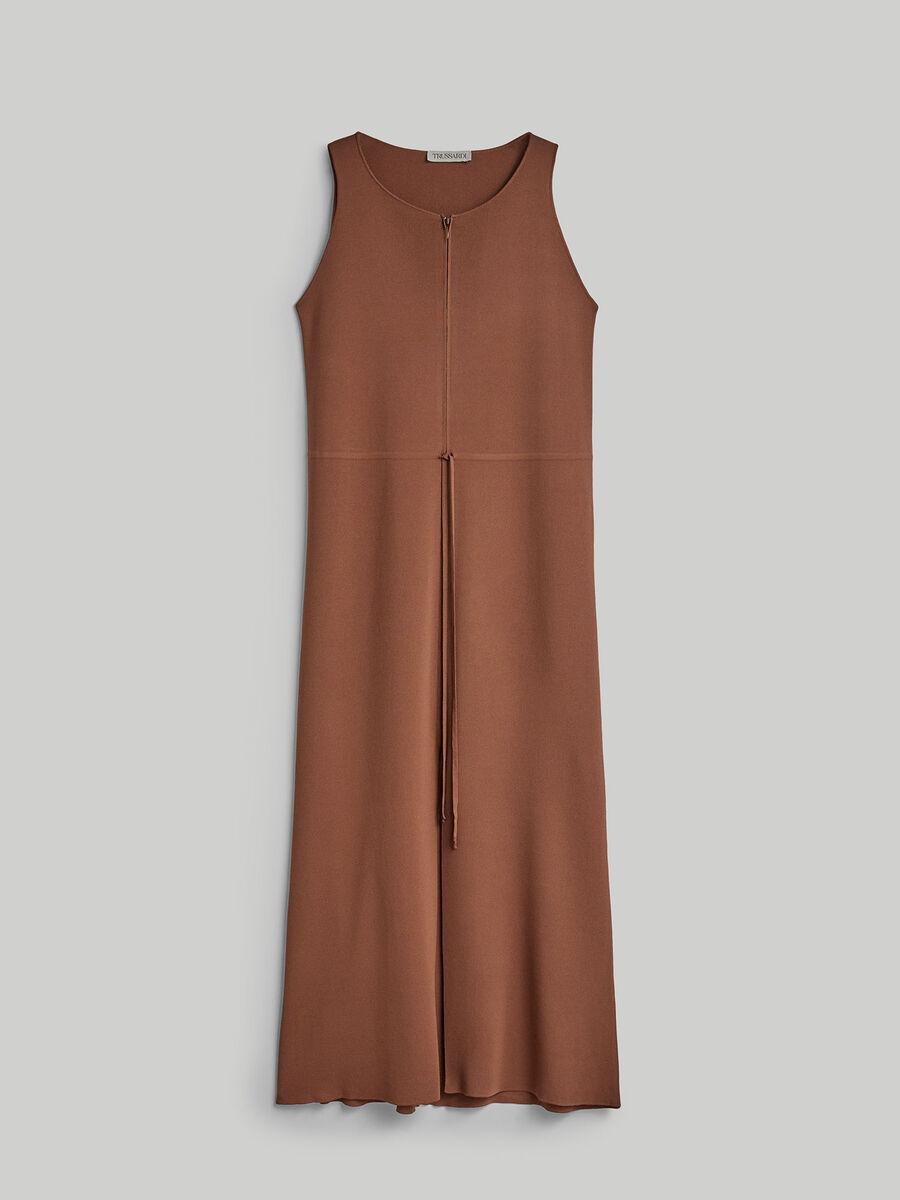 Long regular-fit viscose knit dress