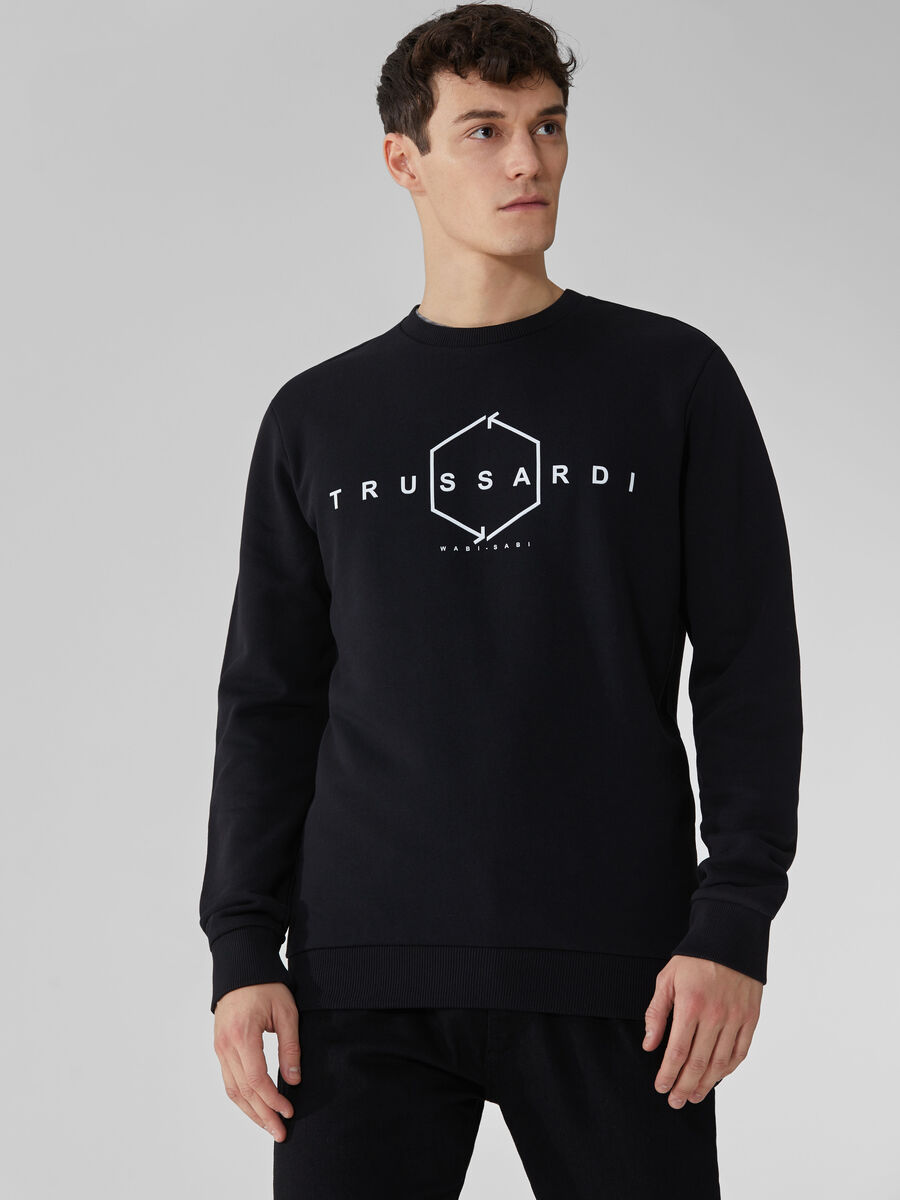 Regular-fit cotton sweatshirt with lettering