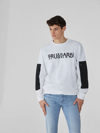Sweat-shirt coupe classique en coton a imprime brillant