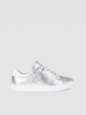 Faux leather sneakers with glitter detailing