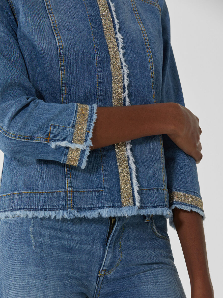Crew-neck denim jacket with glitter