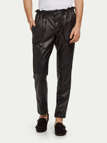 Lambskin jogging trousers