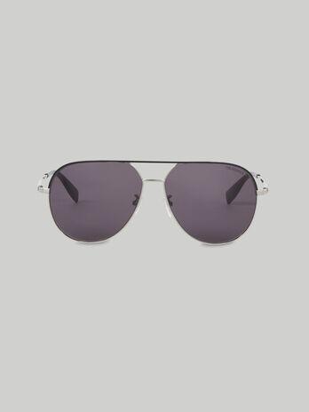 Occhiali da sole aviator in titanio argentato