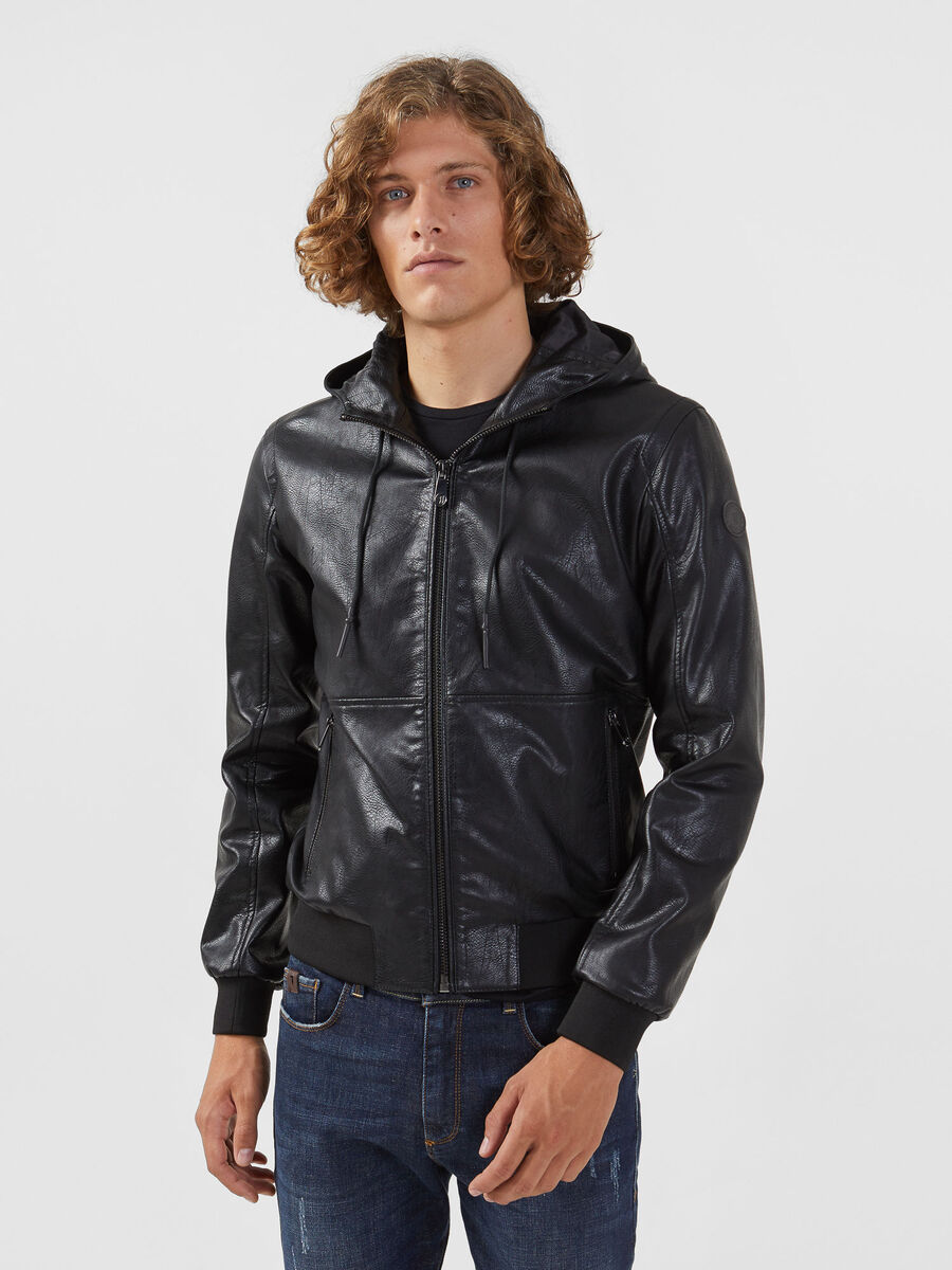Regular fit faux leather bomber jacket with hood