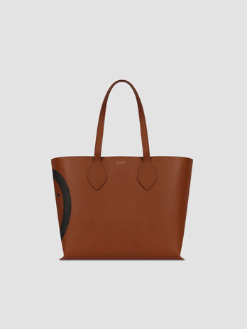 Medium faux saffiano leather shopper