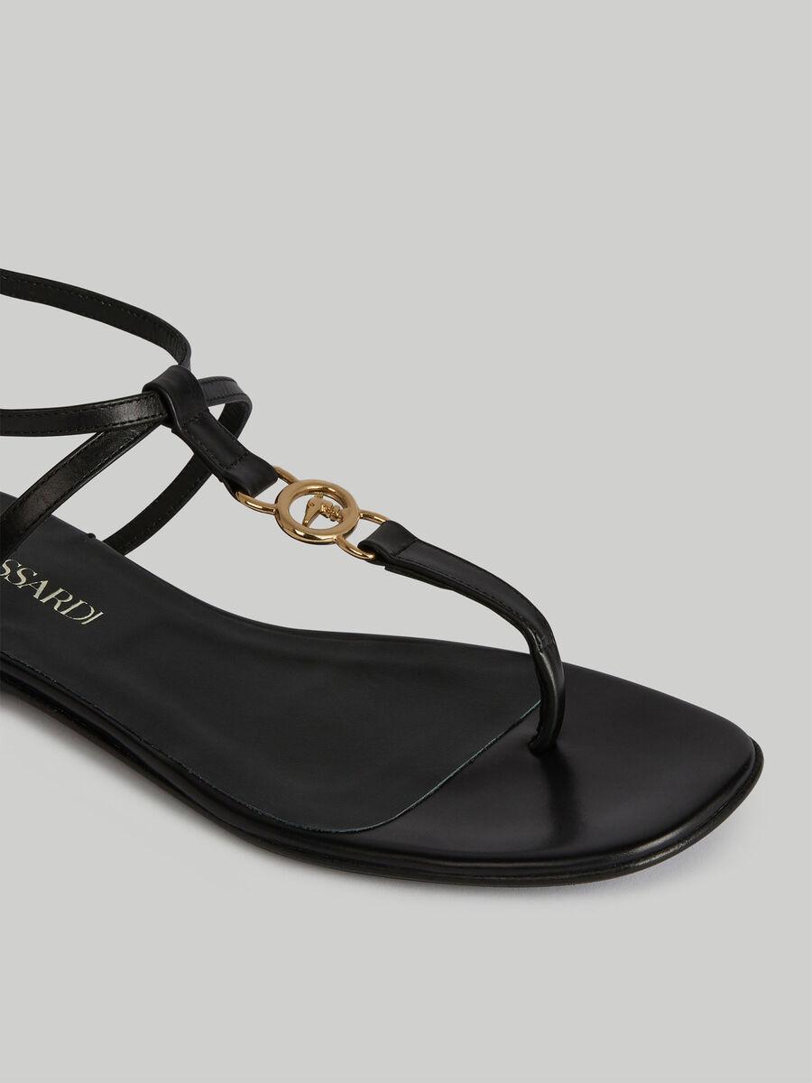 Flat leather T-bar sandals