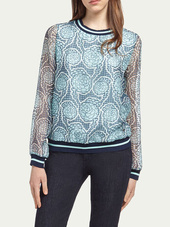 Blouse with floral mesh print