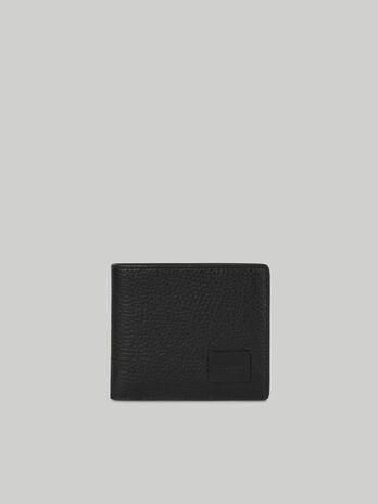 Portefeuille deux volets en cuir avec portemonnaie