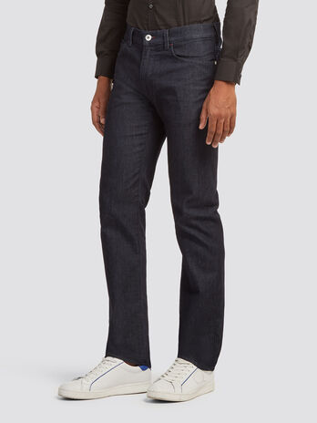 Striated icon fit jeans with rinse wash