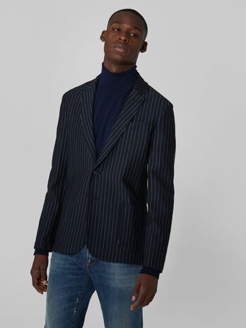 Slim fit pin stripe jersey blazer