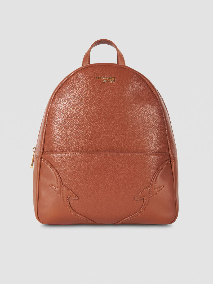 Medium Deco Edge backpack in tumbled faux leather