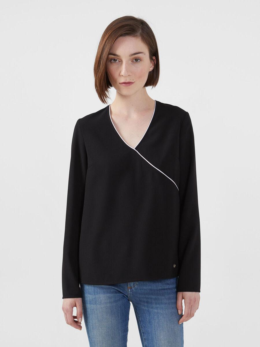 Solid colour envers satin blouse