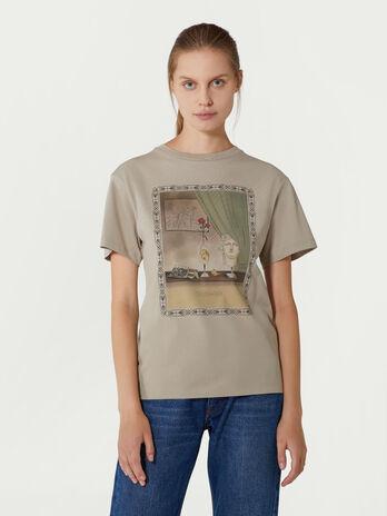 T-Shirt aus Baumwolle mit Vintage Print