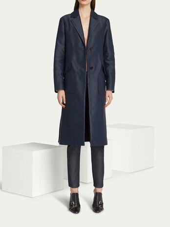 Mantel im Regular Fit aus einfarbiger Baumwolle