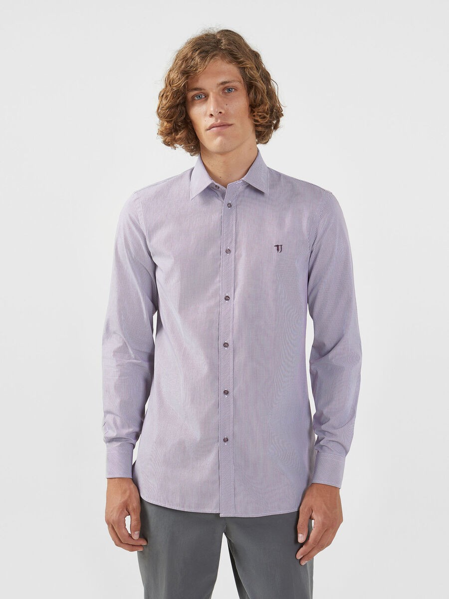Striped poplin shirt with Miami collar