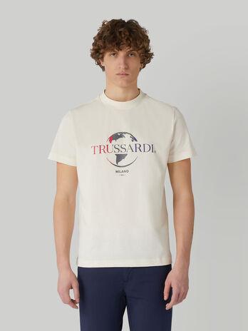 Boxy pure cotton T-shirt with logo