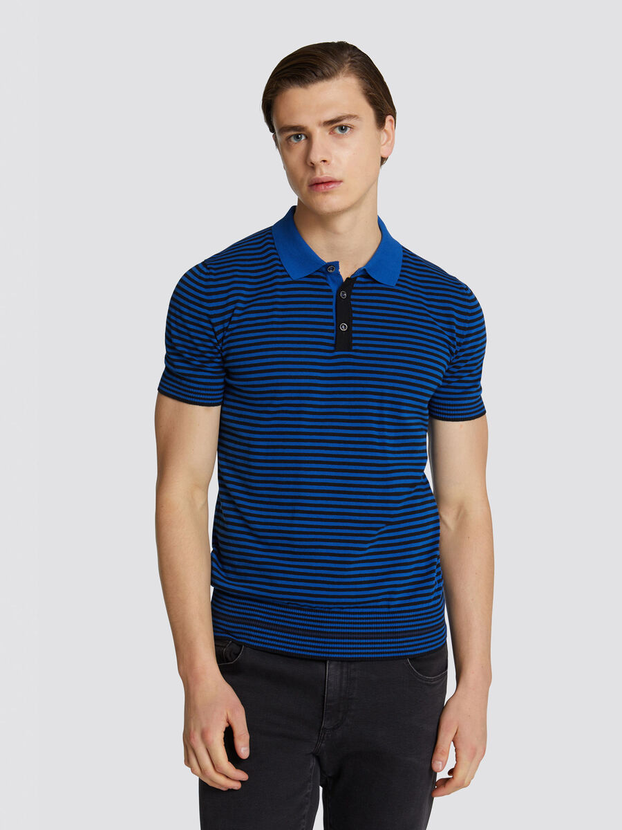 Slim fit striped cotton crepe polo shirt half sleeves