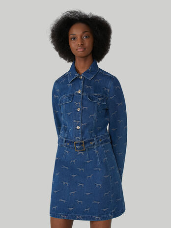 Belted light jacquard denim jacket