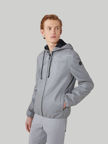 Perforated bomber jacket with hood