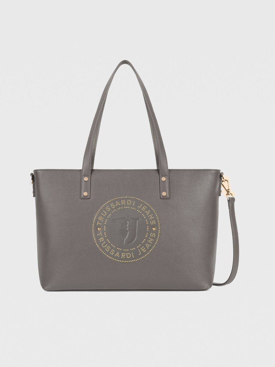 Large Harper shopper in faux leather with studs