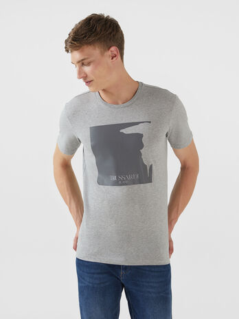 T-shirt regular fit in cotone con stampa levriero