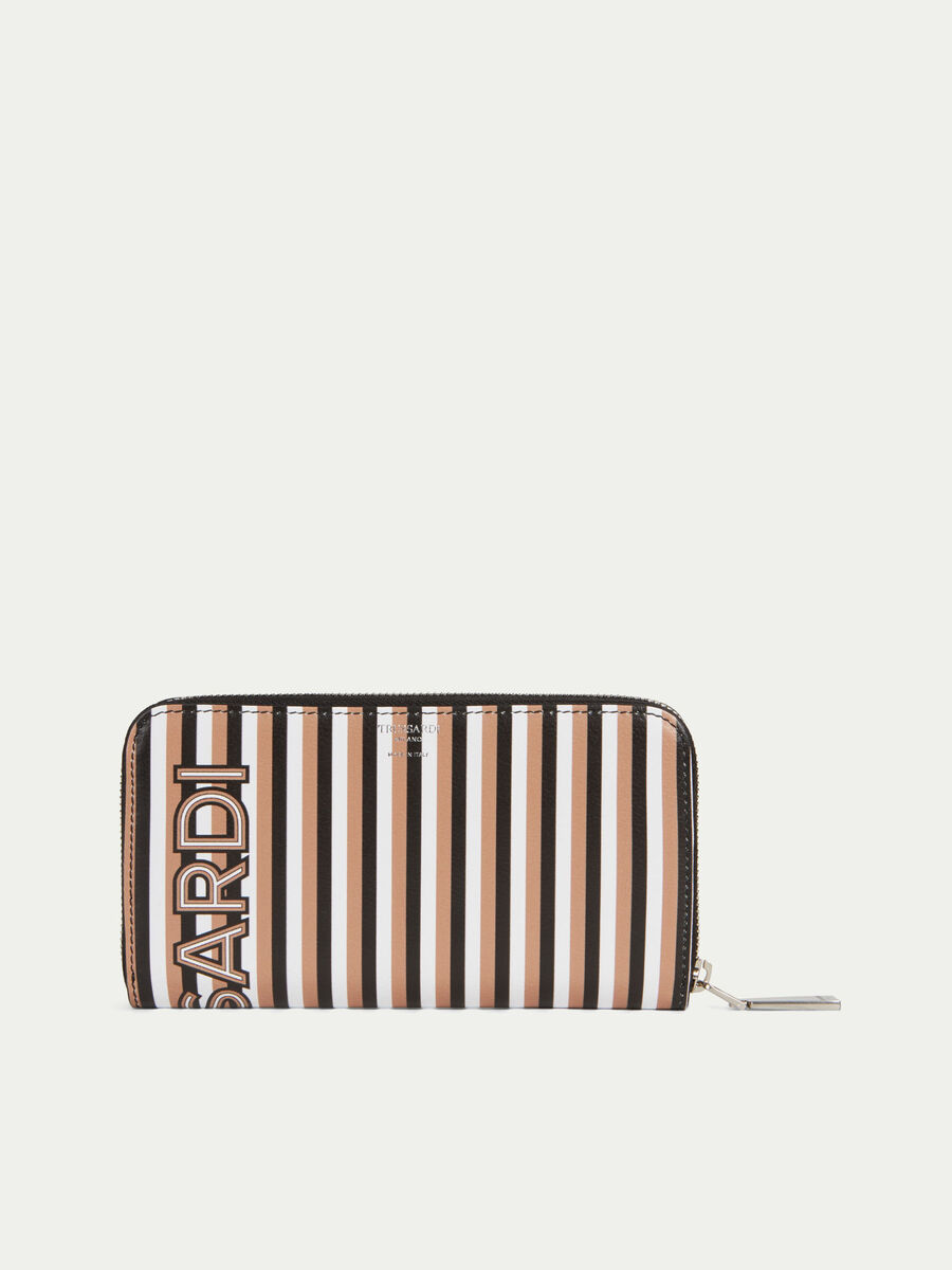 Refined striped leather purse with lettering