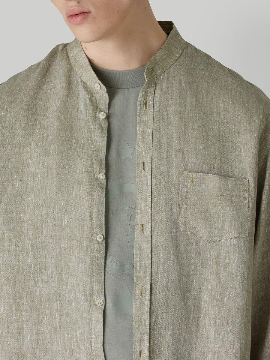 Chemise coupe close en lin teint en fil