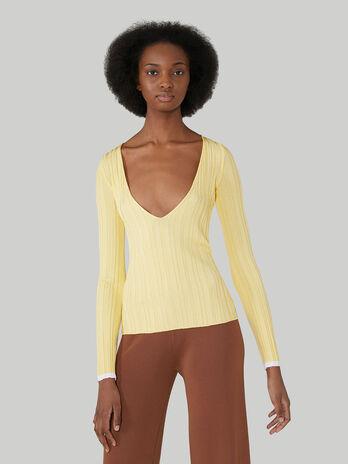 Slim-fit viscose-blend V-neck pullover