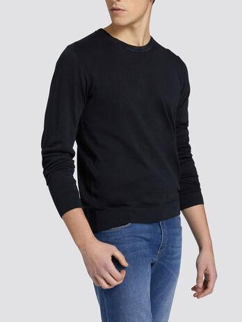 Regular fit pure cotton crew neck pullover