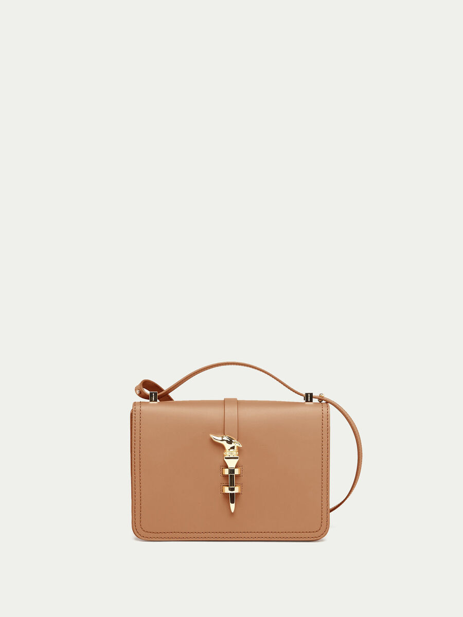 Leather shoulder bag with levriero detail