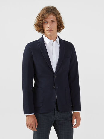 Slim fit technical jersey blazer