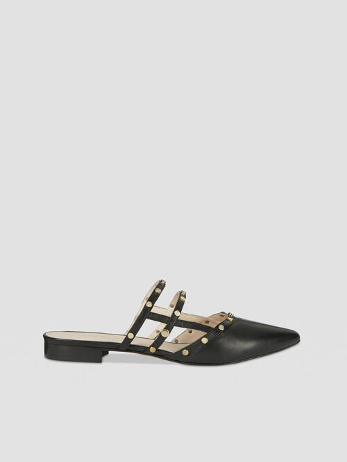 Flat leather mules with studs