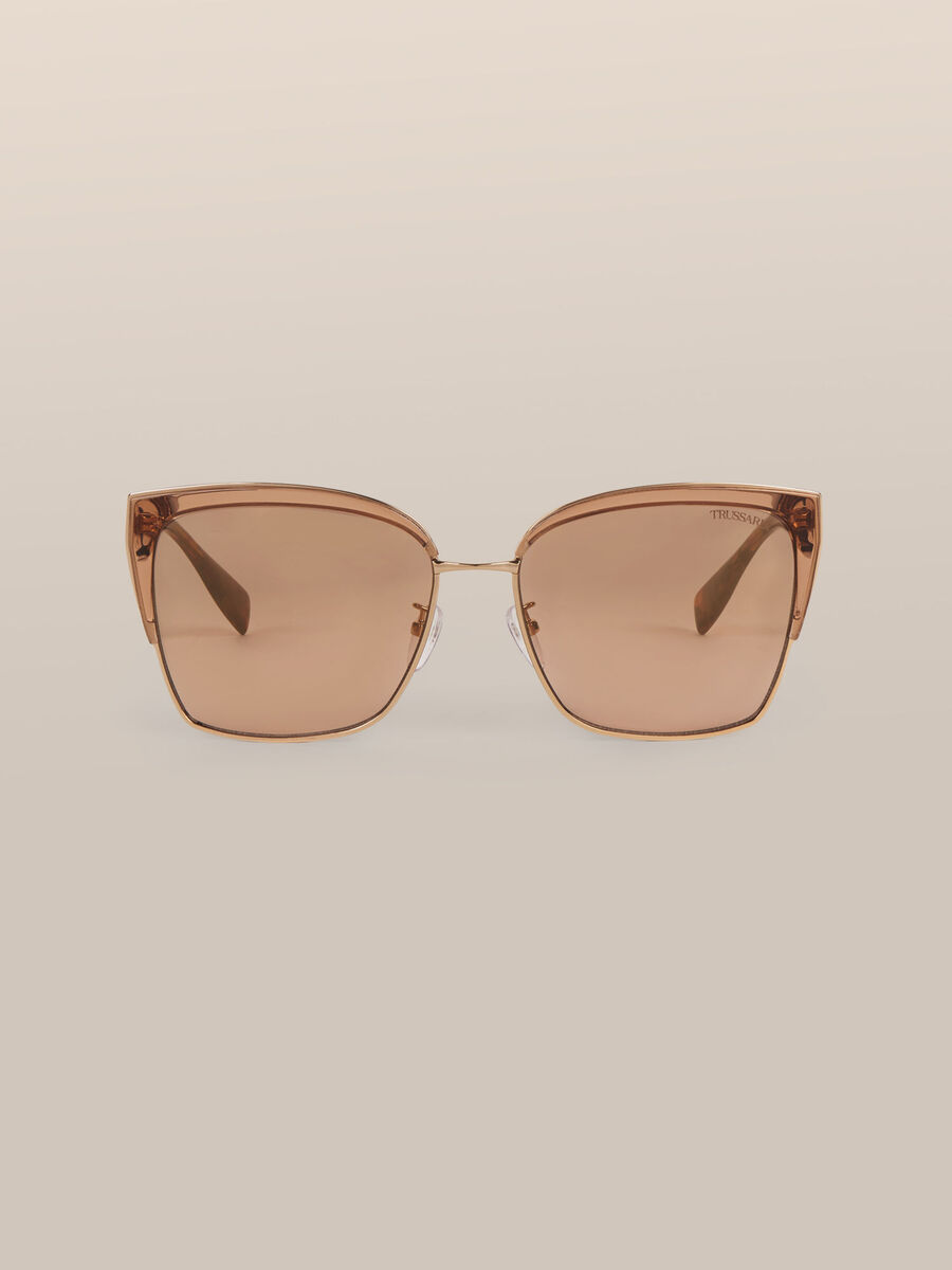 Eckige Sonnenbrille aus Metall und Acetat