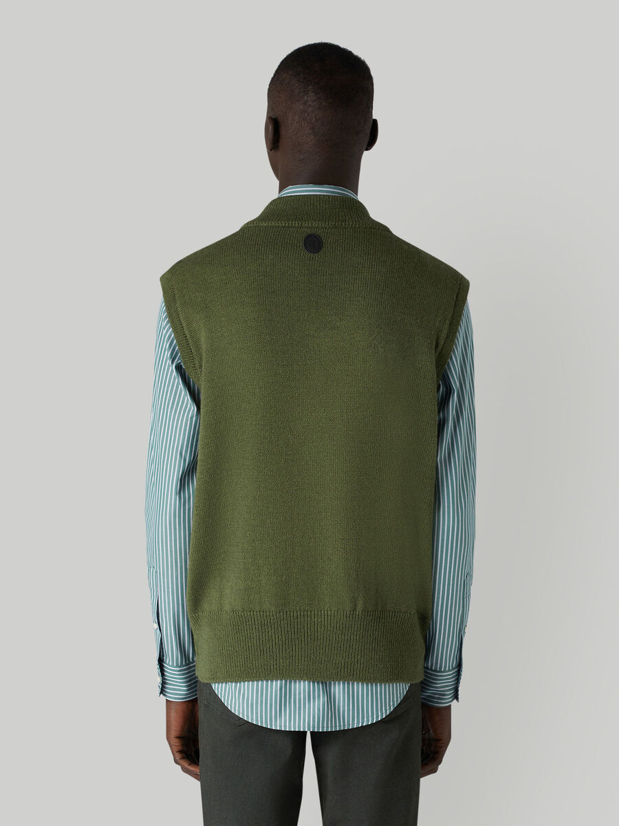 Oversized mohair-blend vest with inlay