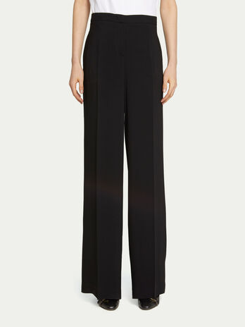 Loose trousers in solid colour viscose cady