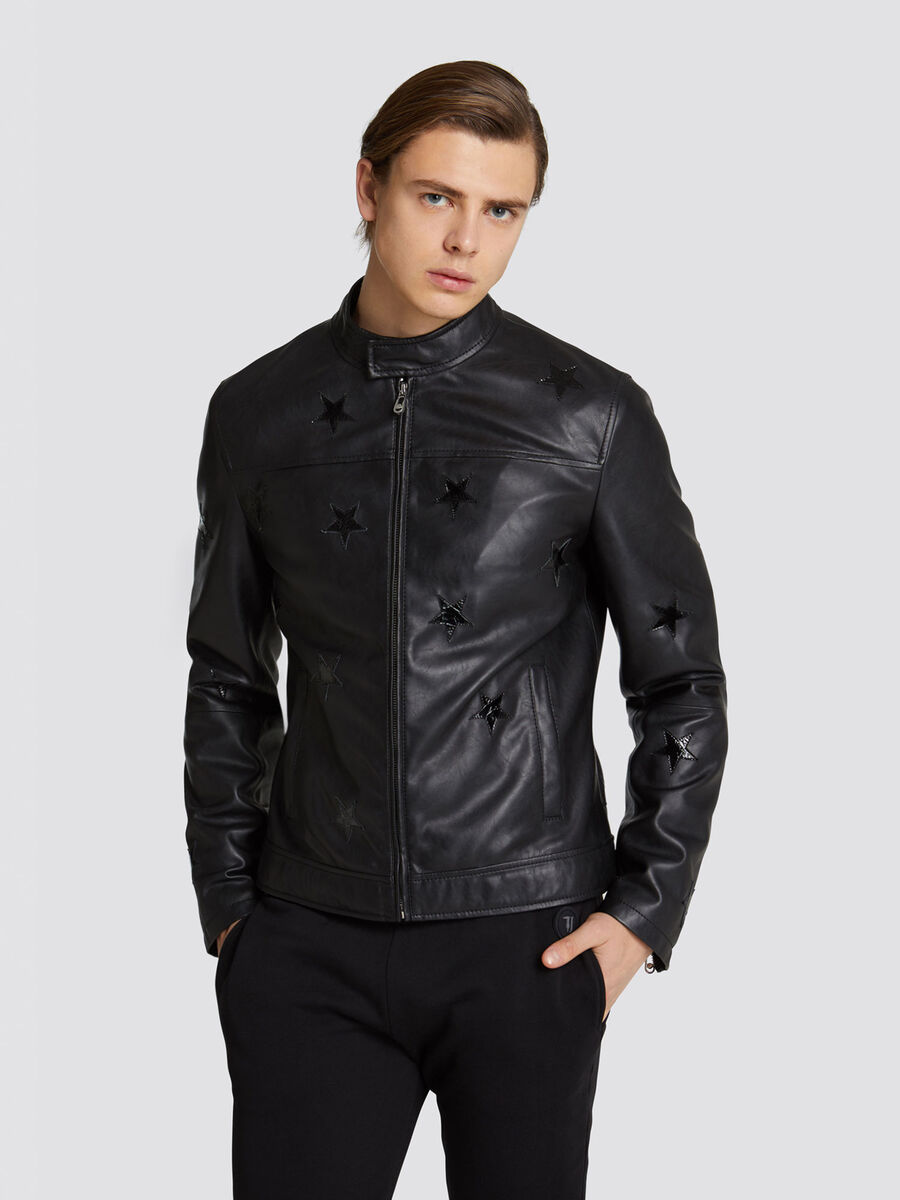 173adbd7 Regular fit faux leather biker jacket with star details | Trussardi ®