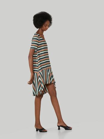 Vestido asimetrico de sarga a rayas
