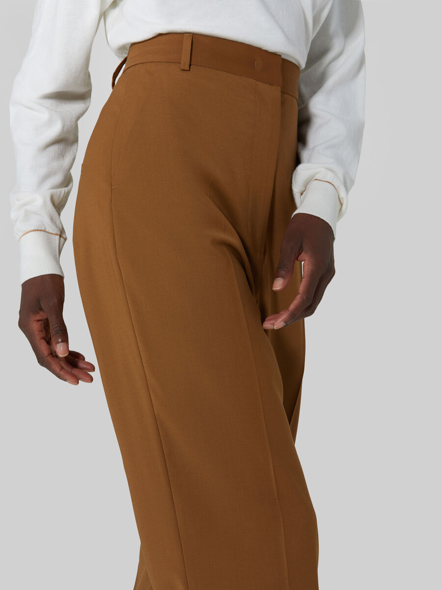 High waisted wool blend trousers
