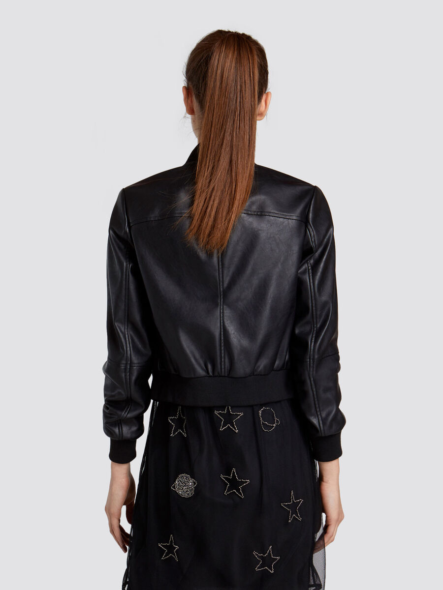 Regular fit bomber jacket in soft faux leather