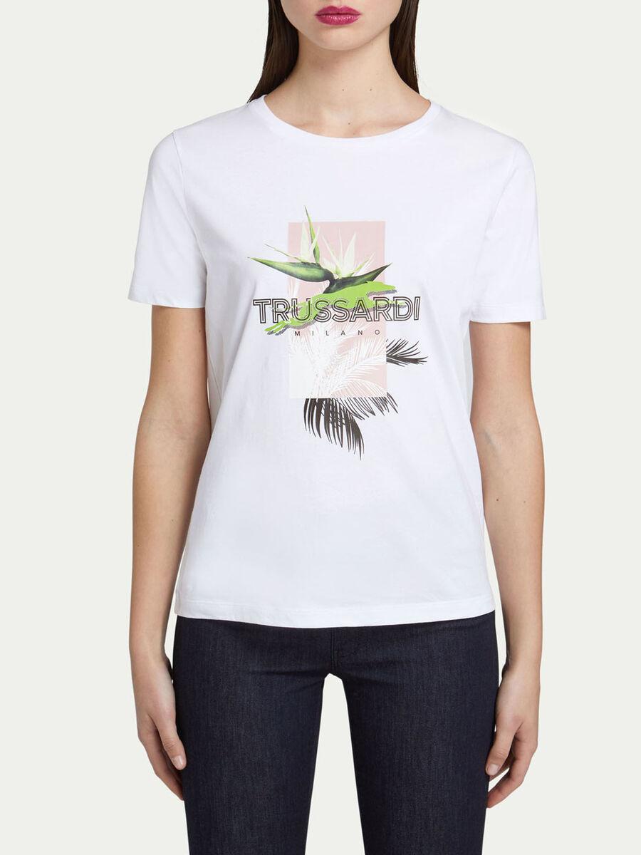 Regular Fit T-Shirt aus Jersey mit Blumen Print
